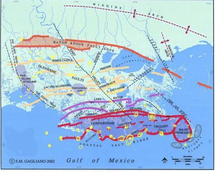 Lake map of faults
